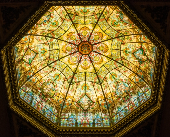 Stunning stained glass cupola above the main entrance lobby and grand staircase of Teatro Colón (Columbus Theatre, the main opera house), Buenos Aires, Argentina