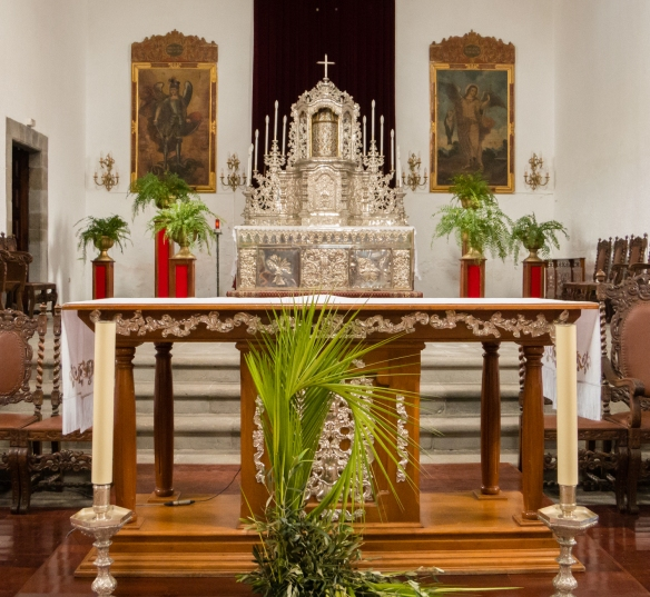 The altar piece is made from 2,000 pounds of Mexican silver which does not tarnish, in San Pedro Apostol Church, El Sauzal, Tenerife, Canary Islands