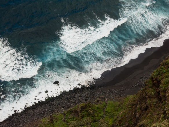 The Atlantic Ocean surf viewed from the hillside of El Sauzal, Tenerife, Canary Islands