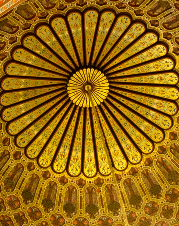 The beautifully carved and painted wooden dome inside the entrance to the Prayer Hall inside La Mosquée Hassan II (Hassan II Mosque), Casablanca, Morocco