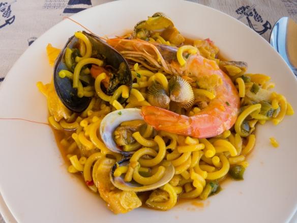 The Canarian version of fideua (a noodle version of Spanish paella) at La Marinera on the Paseo de Las Canteras overlooking Playa de Las Canteras, Las Palmas, Gran Canaria, Canary Islands