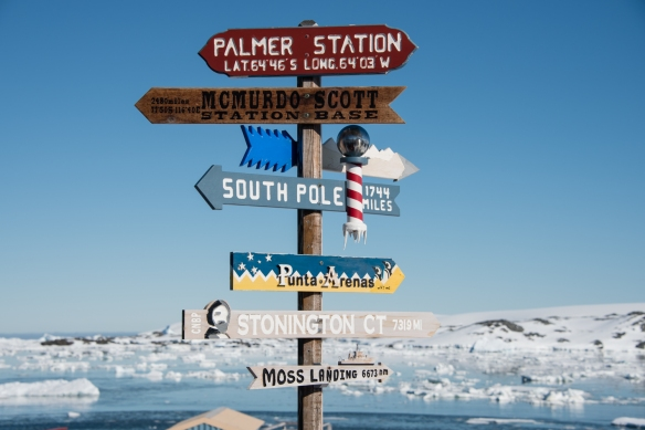 The directional sign to other research stations at the U.S. Antarctic Program's Palmer Station in Arthur Harbour on Avers Island, Antarctica
