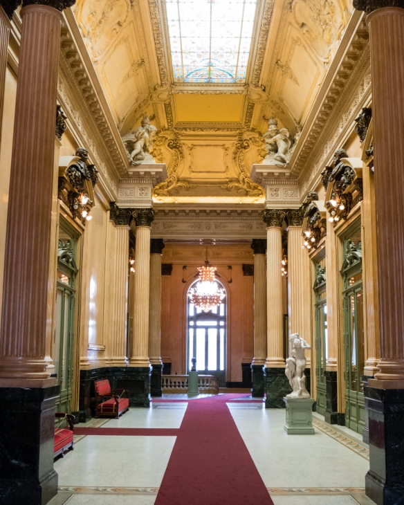 The entry hall to the seating areas of the main hall of Teatro Colón (Columbus Theatre, the main opera house), Buenos Aires, Argentina
