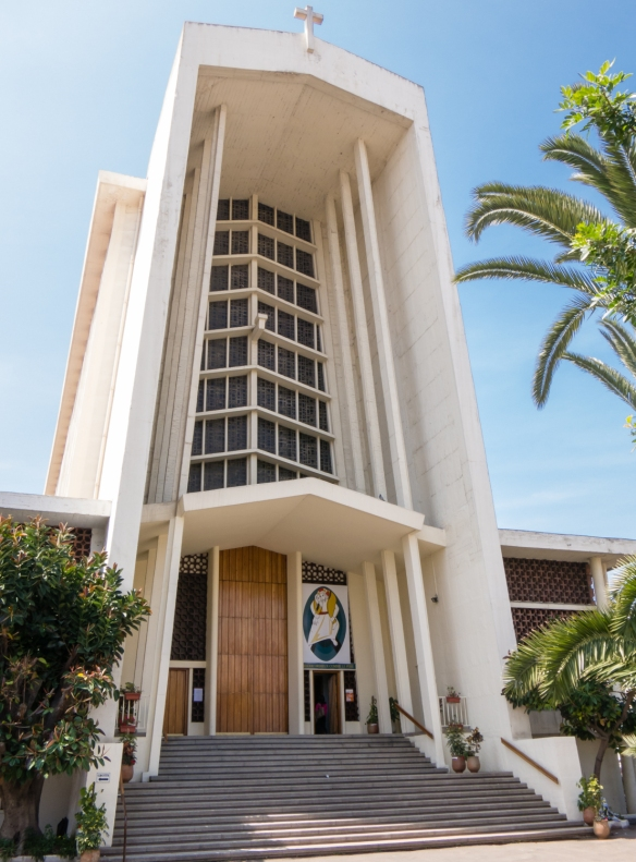 The gigantic concrete Notre Dame de Lourdes Catholic Church in Casablanca, Morocco, was built between 1953 and 1956