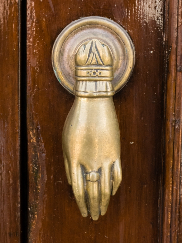 The Hand of Fatima, a talisman to ward off the evil eye – door knocker on a residence in Casablanca, Morocco