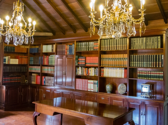 The library in the elegant colonial-era home of the Marquis of El Sauzal in El Sauzal, Tenerife, Canary Islands