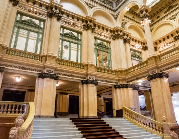 The main entrance lobby and grand staircase of Teatro Colón (Columbus Theatre, the main opera house), Buenos Aires, Argentina