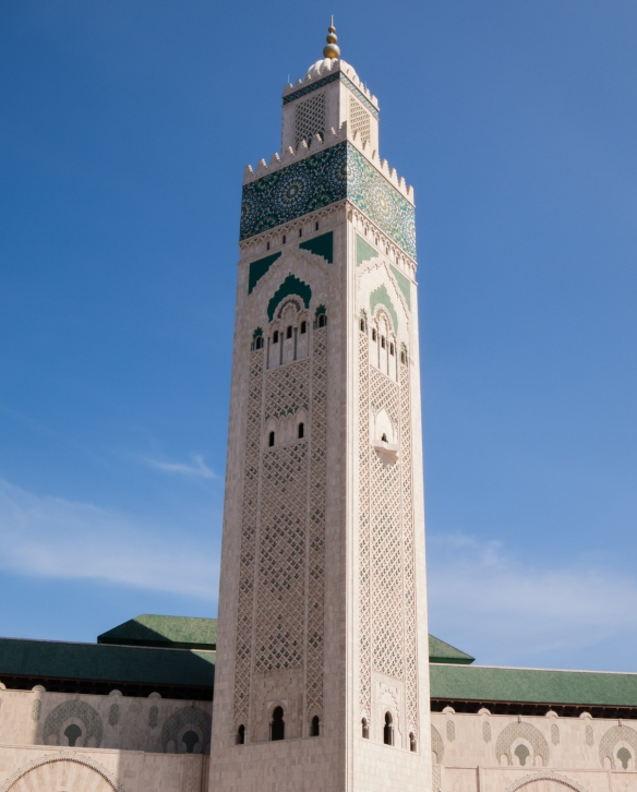 The minaret of La Mosquée Hassan II (Hassan II Mosque) at 60 stories high -- 210 metres (690 feet) -- is the tallest religious structure (and minaret) in the world, Casablanca, Morocco