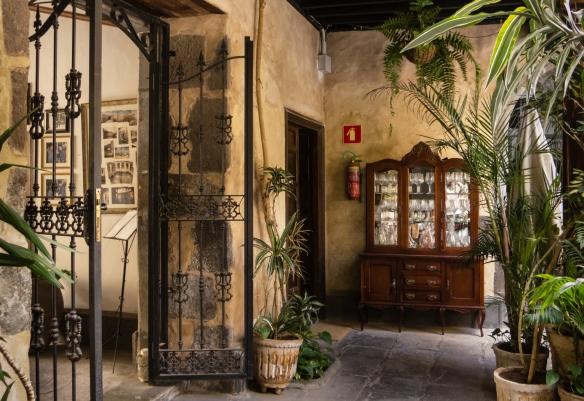 The patio dining area entrance to Casa Montesdeoca, Vegueta old quarter, Las Palmas, Gran Canaria, Canary Islands