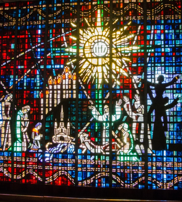 The spectacular stained glass windows are the work of Gabriel Loire, a famous French artist, Notre Dame de Lourdes Catholic Church, Casablanca, Morocco