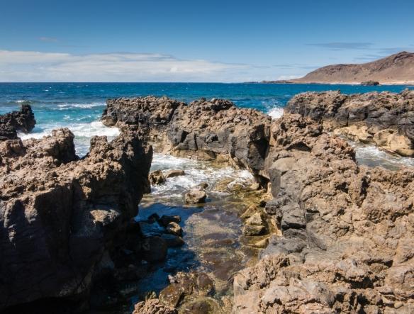 The view from our table at lunch at La Marinera on the Paseo de Las Canteras overlooking Playa de Las Canteras, Las Palmas, Gran Canaria, Canary Islands
