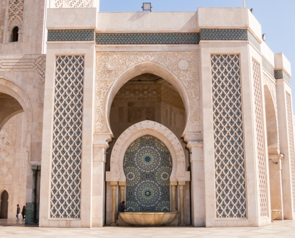 The walls of La Mosquée Hassan II (Hassan II Mosque) are of hand-crafted marble, Casablanca, Morocco