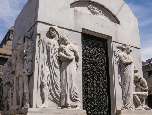 This family's mausoleum was wrapped with a sculptural frieze, Recoleta cemetery, Buenos AIres, Argentina