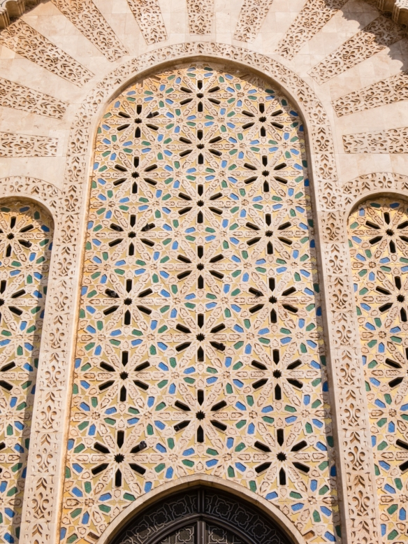 Tiled mosaics on the exterior of La Mosquée Hassan II (Hassan II Mosque), Casablanca, Morocco