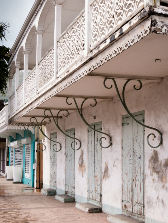 Traditional French wrought-iron designs in Marigot, Saint-Martin, Caribbean Sea