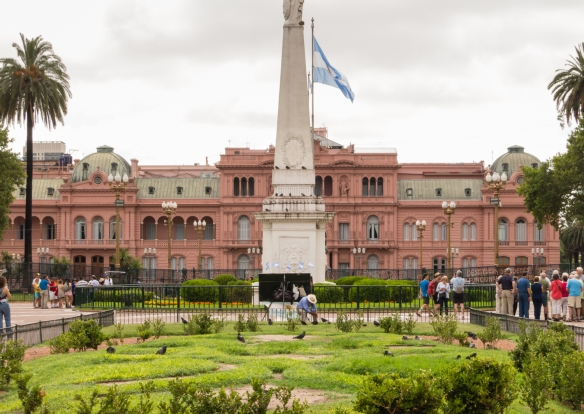 "View of La Casa Rosada (""The Pink House"") -- the Government House -- from the Plaza de Mayo, Buenos Aires, Argentina"