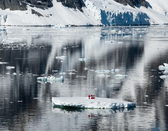 VIsitors from the North Pole on an iceberg in the Lemaire Channel, Antarctica, on Christmas morning