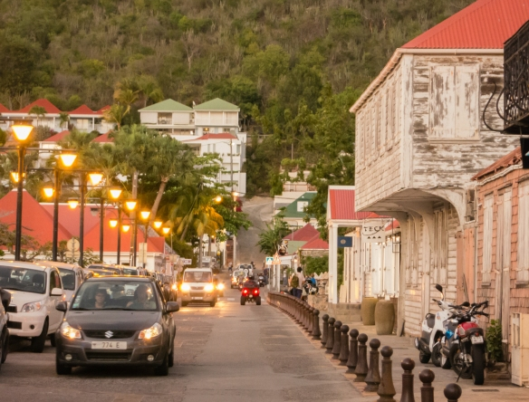 Walking at dusk along the historic downtown street in Gustavia, Saint Barthélemy (St. Barth's), Caribbean Sea