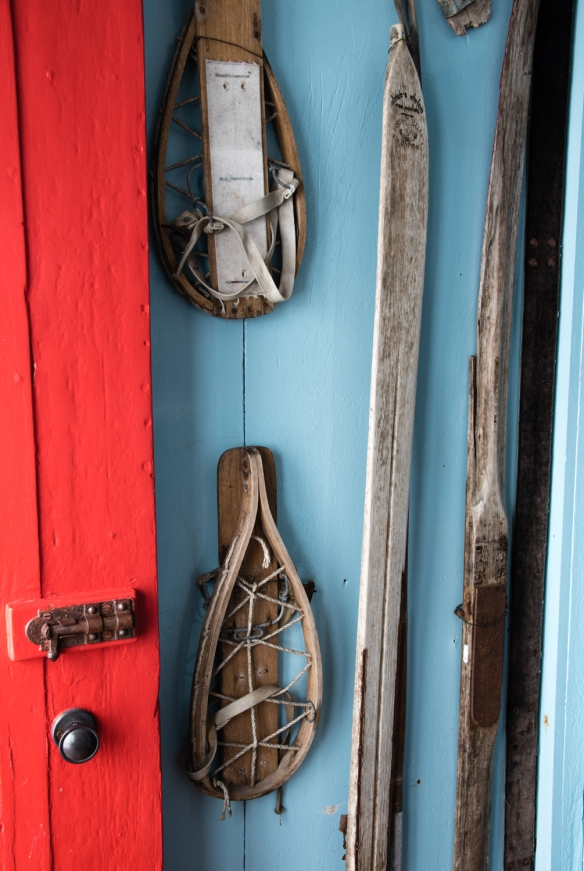 Wooden snow shoes (Norwegian-style) and skis, circa 1940s, Port Lockroy, Antarctica