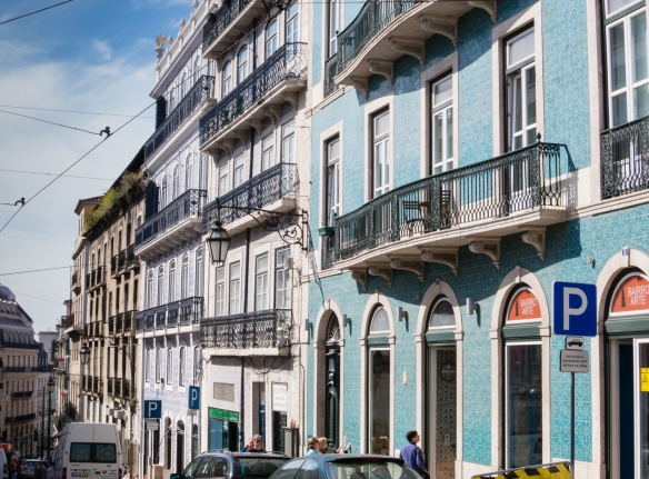 Historic buildings with facades coveed with painted Portuguese ceramic tiles, Chiado District, Lisbon, Portugal