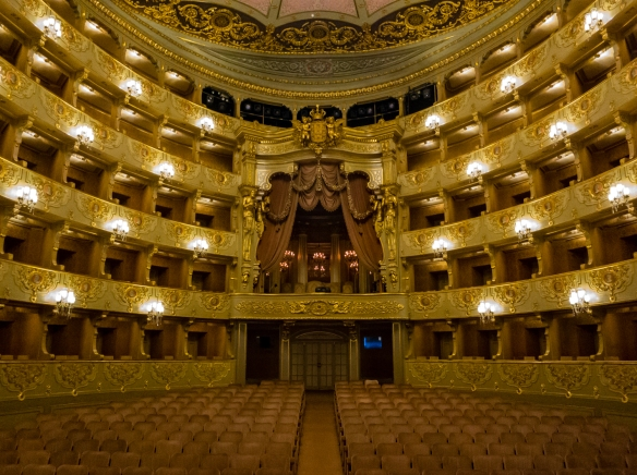 Main theater of Teatro Nacional de São Carlos (National Theatre of Saint Charles), the opera house in the Chiado District -- modeled on La Scala, Milan, Italy -- Lisbon, Portugal