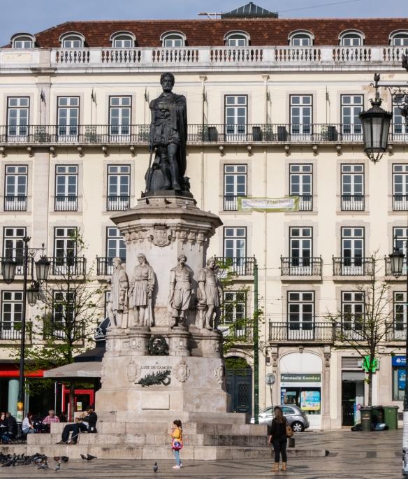 Monument to (statue of) Luís Vaz de Camões, considered Portugal's and the Portuguese language's greatest poet, Parca Luis de Camões, Chiado District, Lisbon, Portugal