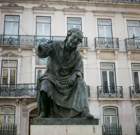 "Monument to (statue of) the Portuguese poet António Ribeiro -- nicknamed ""Chiado"" (squeak), Chiado District, Lisbon, Portugal"