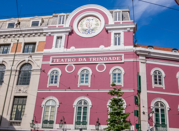 Teatro da Trinidade, of Baroque style, decorated in gold and blue colours, with an acoustic which is considered unique in the country, Chiado District, Lisbon, Portugal