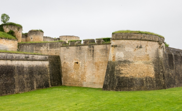 A bastion and moat form one of three lines of defense at the Vauban designed Blaye Citadel, Blaye, Bordeaux region, France