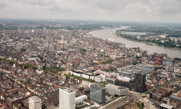 A bird's-eye view of Antwerp, looking south, Belgium