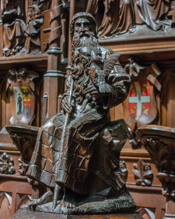 A carved figure from the choir, Cathedral of Our Lady, Antwerp, Belgium