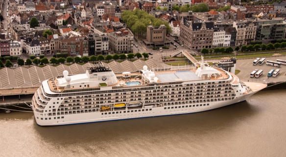 A close-up of our ship, docked on the Schelde River, and the waterfront; Antwerp, Belgium