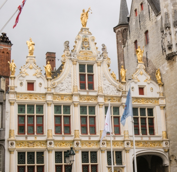 A close-up of the gilded annex to Bruges Stadhuis (Town Hall), Bruges, Belgium