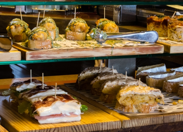 A closeup of one of the display counters with tapas (locally called pinchos) at Casa Lita in Santander, Spain