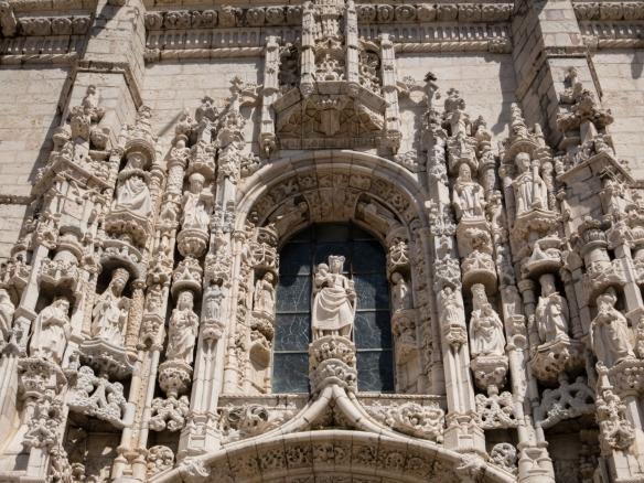 A closeup view of the ornate Manueline south portal of Mosteiro dos Jerónimos (St. Jerone's Monastery) by João de Castilho, Lisboa (Lisbon), Portugal
