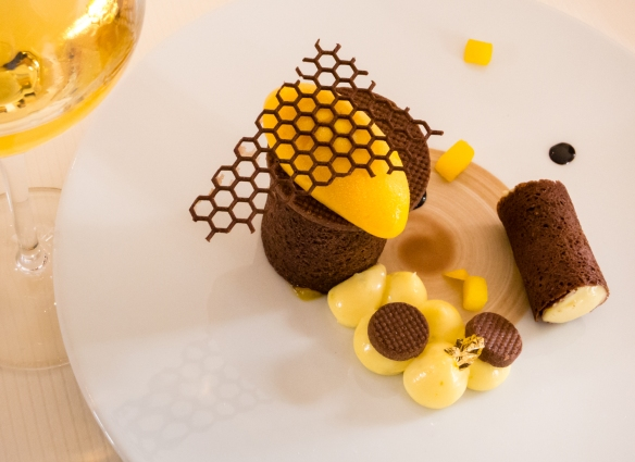 """A desert composed of """"dark chocolate, mango and lime"""", accompanied by Château La Tour Blanche Sauternes 2007, Le Restaurant Gastronomique à Château Cordeillan-Bages, Pauillac, France"""
