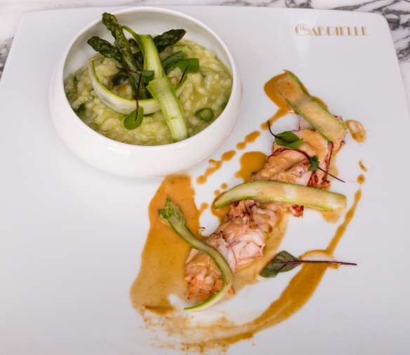 A plat (main course) of lobster and risotto, at Villa Gabrielle, Deauville, Normandy region, France