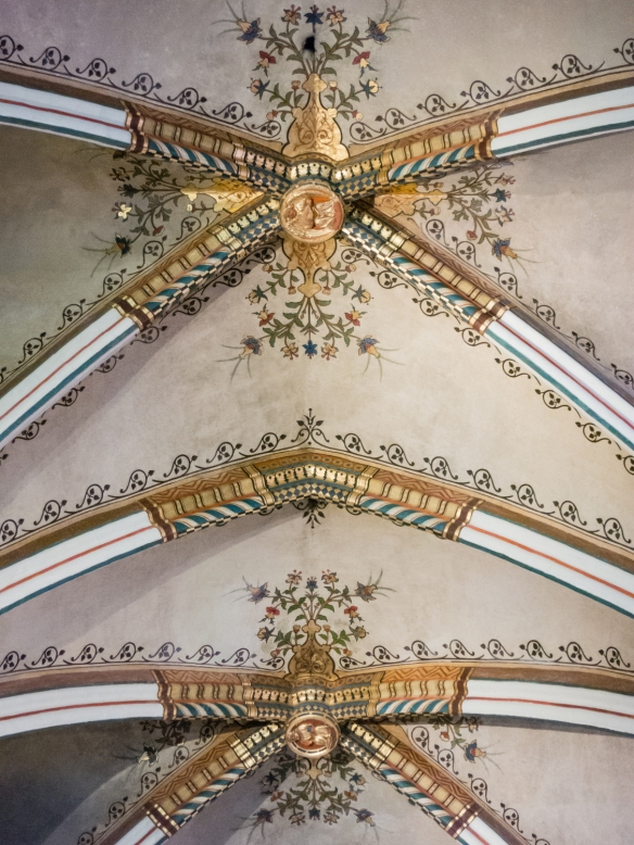 A portion of the highly decorated ceiling in a chapel, Cathedral of Our Lady, Antwerp, Belgium