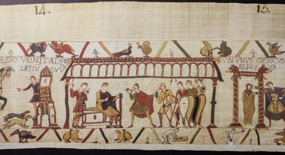 "A scene in a reproduction of the Bayeux Tapestry depicting ""Harold and William return to Normandy, where William's daughter Aelfgifu is betrothed to Harold"", Bayeux, Normandy region, France"