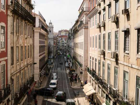 A typical street in historic Lisbon's downtown, with offices and apartments constructed to replace the buildings that had been destroyed by Lisbon, Portugal's historically significant (and worst in history) earthquake of November 1, 1755