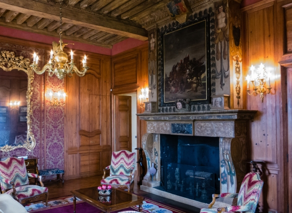 A wood-paneled room in the Château at Château d'Yquem, Sauternes, Bordeaux region, France