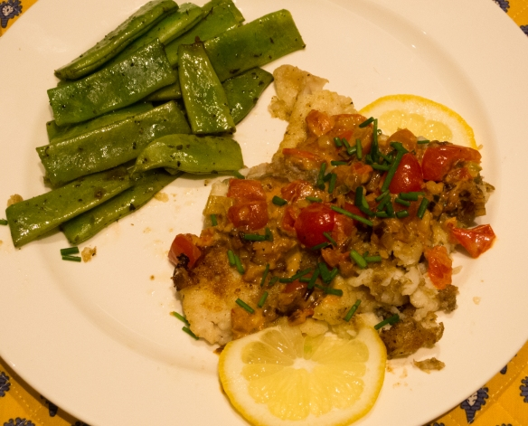 After lightly sauteeing the sardines for a first course in our kitchen, we enjoyed the market fish for dinner with fresh Romano beans in our apartment on the ship, docked in Santander, Spain