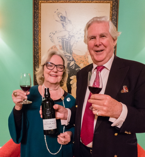 "Alistair and Gilyanne Robertson, ""proprietors"" of Taylor Fladgate & Yeatman, enjoying a delicious 1994 Taylor's vintage port with our small group with dessert at The Yeatman Restaurant, Vila Nova de Gaia, Portugal"