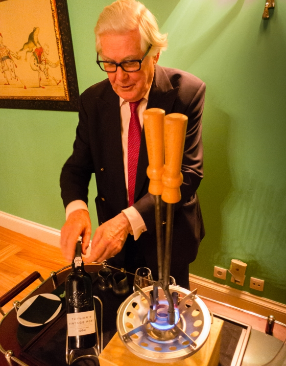 "Alistair Robertson, non-executive Chairman of Taylor Fladgate & Yeatman, sets up a 1994 Taylor's Vintage Port for ""opening"" at The Yeatman Restaurant, Vila Nova de Gaia, Portugal"
