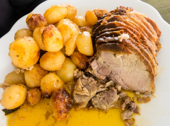 An alternative main course – roasted pork and potatoes -- at Quinta da Pacheca, Lamego, Douro Valley, Portugal