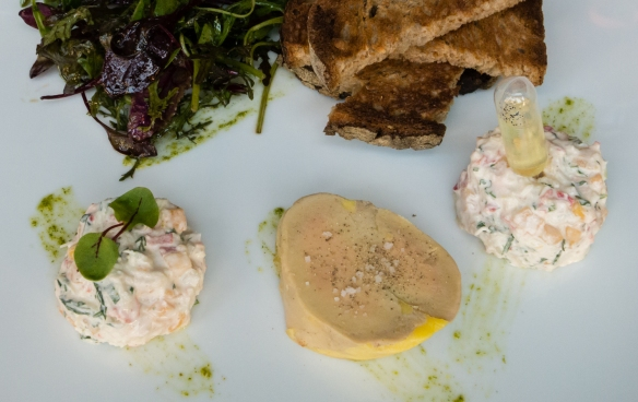 An entrée (appetizer) of lobster salad and foie gras at Villa Gabrielle, Deauville, Normandy region, France
