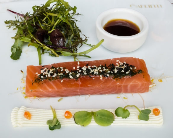 An entrée (appetizer) of smoked salmon at Villa Gabrielle, Deauville, Normandy region, France