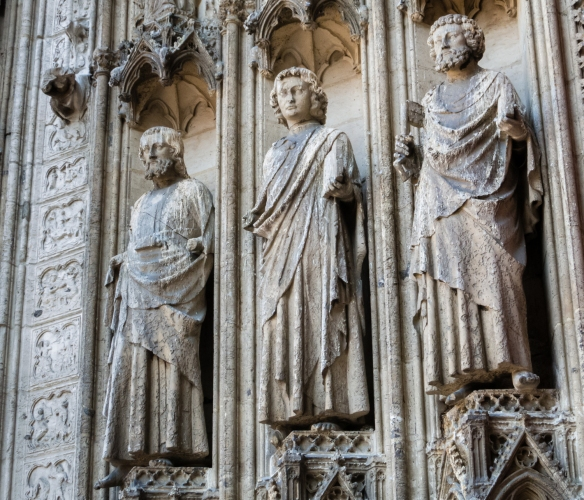 Apostles on the front façade (Le portail de la Calende) of the church, Rouen Cathedral, Rouen, Normandy region, France