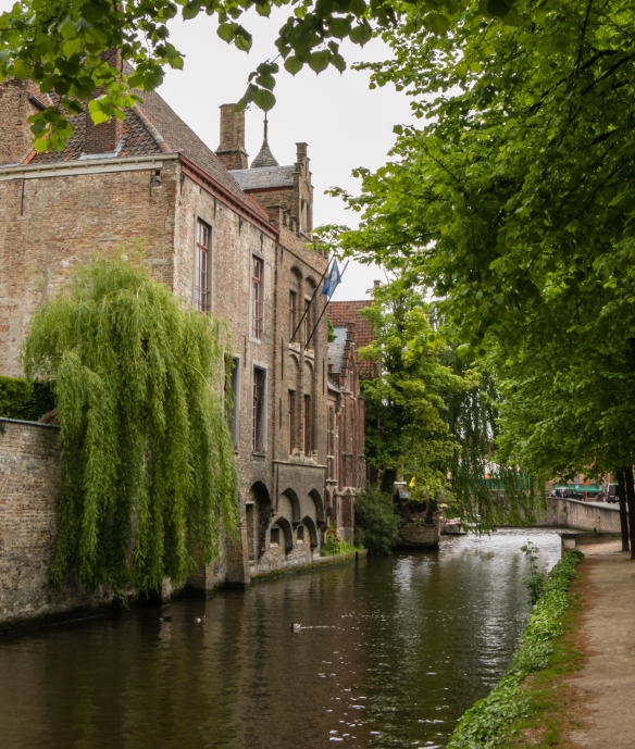Before the summer tourists arrived en masse, it was very pleasant to stroll under the trees, along the canals, Bruges, Belgium