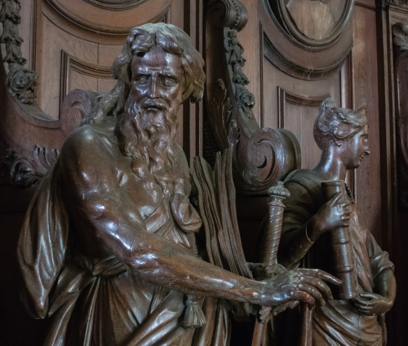 Carved figures from the pulpit, Cathedral of Our Lady, Antwerp, Belgium